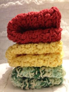 Cozy crocheted dishcloths in Chunky YellowRed & by AllAboutTheCozy, $6.00