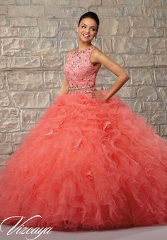 Quinceanera dresses by Vizcaya Two-Piece Ruffled Tulle Skirt with Lace Bodice and Beading. Matching Stole. Available in Coral, Aqua, Champagne, White