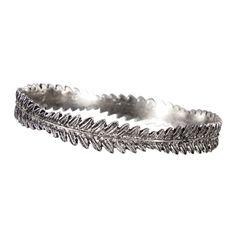 Sliver Etched Leaf Bangle Bracelet