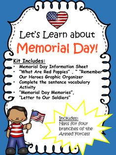 Memorial Day Lessons and Activities Number Activities, Vocabulary Activities, Writing Activities, Activities For Kids, Crafts For Kids, What Is Memorial Day, Camping Crafts, Camping Ideas, Memorial Day Activities