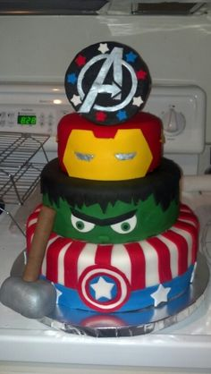 Add Batman and take off the A on top and this would be Jack's perfect superhero cake!