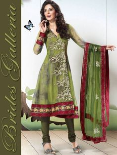 Green Net Churidar Kameez