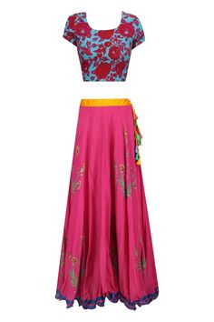 Blue crop top and pink floral printed skirt set available only at Pernia's Pop Up Shop. Floral Print Skirt, Floral Prints, Mehndi Party, Blue Crop Tops, Pernia Pop Up Shop, Party Outfits, Kaftan, Lehenga, Tie Dye Skirt