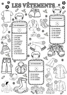 CLOTHES worksheet - Free ESL printable worksheets made by teachers French Teaching Resources, English Activities, Teaching French, Teaching English, French Flashcards, French Worksheets, French Lessons, English Lessons, English Primary School