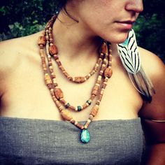 TRIBAL Tulsi Necklace with NATURAL powerful by ArtOfGoddess