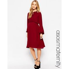 ASOS Maternity Midi Dress With Soft Tie ($48) ❤ liked on Polyvore featuring maternity, maternity dress and burgundy