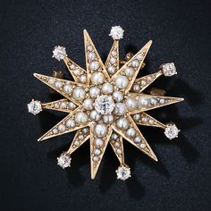 Victorian Diamond and Seed Pearl Starburst - 50-3-2852 - Lang Antiques