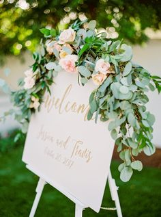 Floral: LUX Wedding Florist-Photographer: Elyse Hall Photography- Venue: El Chorro, Scottsdale, AZ, - Beautiful blush and white wedding floral, with blush garden roses, white hydrangea, and soft greenery adorn this wedding garland and sign.