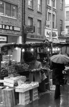 An poster sized print, approx (other products available) - Soho, London - Berwick Street Market - view towards Peter Street. <br> 1973 - Image supplied by Mary Evans Prints Online - Poster printed in the USA Vintage London, Old London, Soho, Berwick Street, Peter Street, London Market, Swinging London, London History, Old Street