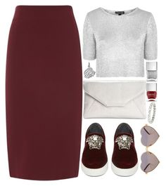 """""""Tricky Trend: Pencil Skirts and Sneakers"""" by preet111 ❤ liked on Polyvore featuring Topshop, Versace, Style & Co., Nails Inc., Wildfox, Vintage and TrickyTrend"""