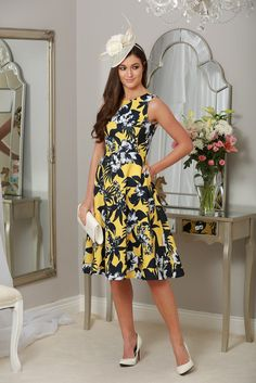 Augusta Yellow & Navy Fit & Flare Dress