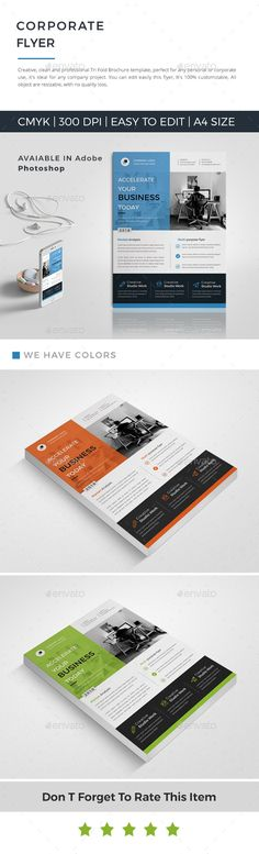 Buy Corporate Flyer by Mister-Templater on GraphicRiver. This layout is suitable for any project purpose. Very easy to use and customise. Psd Flyer Templates, Business Flyer Templates, Flyer Size, Flyer Layout, Corporate Brochure, Flyer Design, Color Change, Print Design, Flyers