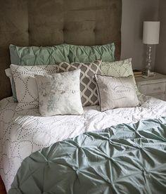 west elm bedroom gray grey calm cozy lia griffith pintuck duvet headboard tufted bedding layers ruffles