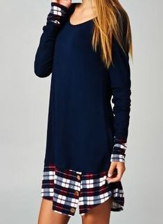 Paneled Plaid Dress with Buttons