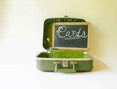 Small Retro Green Hardcase Suitcase/ Wedding Card Holder - http://oleantravel.com/small-retro-green-hardcase-suitcase-wedding-card-holder