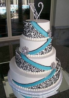 Aqua and Black Wedding Cake