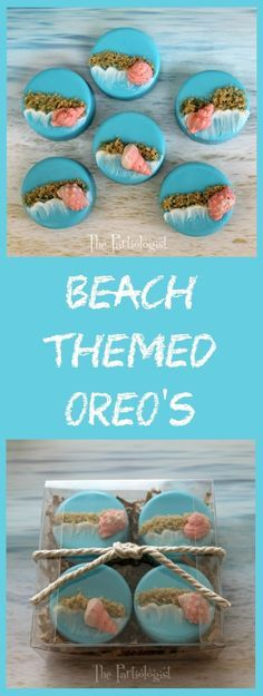 The Partiologist - Beach Themed Oreo's, perfect for a summer wedding favor or any beach themed event! Wedding Strawberries, Chocolate Covered Strawberries, Oreo Pops, Candy Melts, Oreo Cake, Oreo Cookies, Beach Treats, Oreo Treats, Chocolate Dipped Oreos
