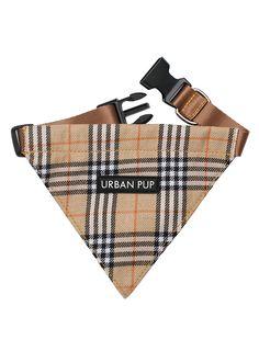 Brown Checked Tartan Bandana | Patterned Dog Harnesses at Urban Pup