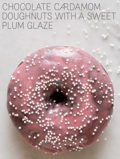 Chocolate Cardamom Doughnuts with a Sweet Plum Glaze