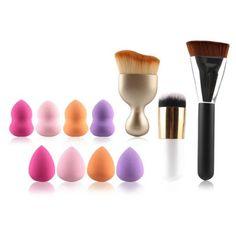 COLORMIX 8 Pcs Dual-Use Dry and Wet Makeup Sponge + S-Shape Blush Brush + Foundation Brush + Contour Brush