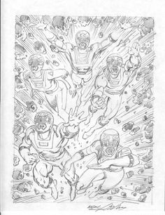 Neal Adams Power Rangers Pencil Comic Art
