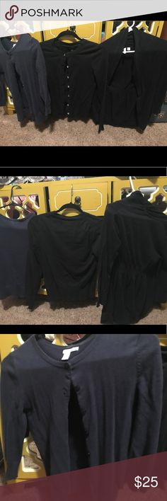 Lot of three cardigans two xs one is small 1) small Navy Abound 3/4 sleeve cardigan 2) xs Banana Republic black cardigan with bling buttons 3) Frenchi XS black cardigan 3/4 sleeves Banana Republic Sweaters Cardigans