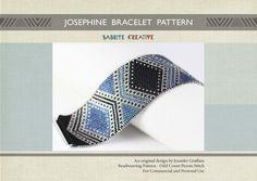 Patrón Peyote - Josephine Pulsera en Negro, Azul y Plata - Descarga Digital - Patrón Peyote pulsera