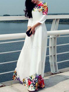 Robe longue blanc motif pivoine pendentif fleur imprimé fleuri col rond - Milanoo.com