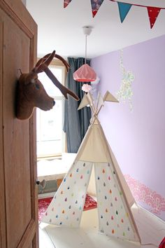 Teepee tent  Raindrops Print  MIDI size by moozlehome on Etsy