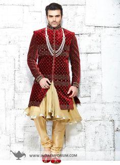 Silk Indo #Western with Stone Work #Sherwani #Wedding
