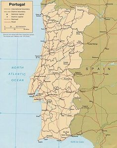 Map Of Portugal Géo Pinterest Portugal Porto And Funchal - Portugal map with cities