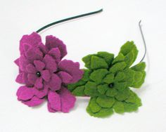 Colorful 3D Felt Floral Headband Summer Fashion Orchid by sesiber, $13.00