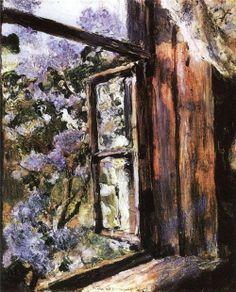 Open Window, Lilac (sketch), 1886, Valentin Serov. Russian Impressionist Painter (1865 - 1911)
