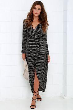 Fluent in Stroll Black Wrap Maxi Dress