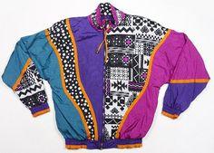 Vintage 90's swag baroque aztec tribal color block Fresh Prince print…