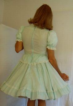 tgirl wearing square dance dress and petticoat
