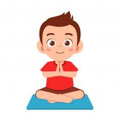 Happy cute little kid boy practice yoga . Kids Wear Boys, Kids Girls, Happy Mom, Happy Kids, Chico Yoga, Namaste Art, Joker Art, Relaxing Yoga, Dibujos Cute