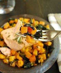 Easy Salmon with Roasted Butternut Squash and Kale - Back To The Book Nutrition