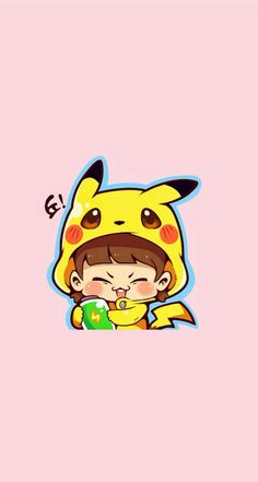 CHU! So cute! Download this Girl Pikachu iPhone Wallpapers Parallax. Tap for more Chibi Couple Costume Players Wallpapers! | @mobile9