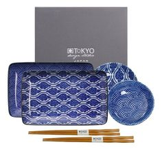 Tokyo Design Studio Nippon Blue Sushi Servies incl. chopsticks - hoogwaardig porselein - 6-delig - 2-persoons Sushi, Tokyo Design, Chopsticks, Kawaii, Joy, Japan, Studio, Prints, Blue