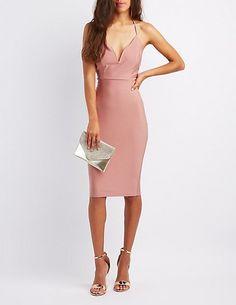 Shimmer Knit Notched Bodycon Dress