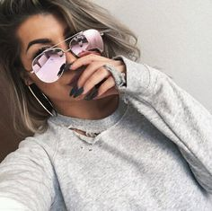 girl, nails, and sunglasses