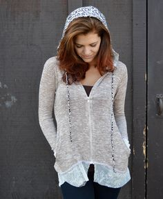 Lace and Leopard Hoodie www.daisyshoppecom