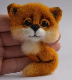 Handmade Brooch Fox Felted Wool Eco Friendly Handcrafted Toy 4in #Handmade