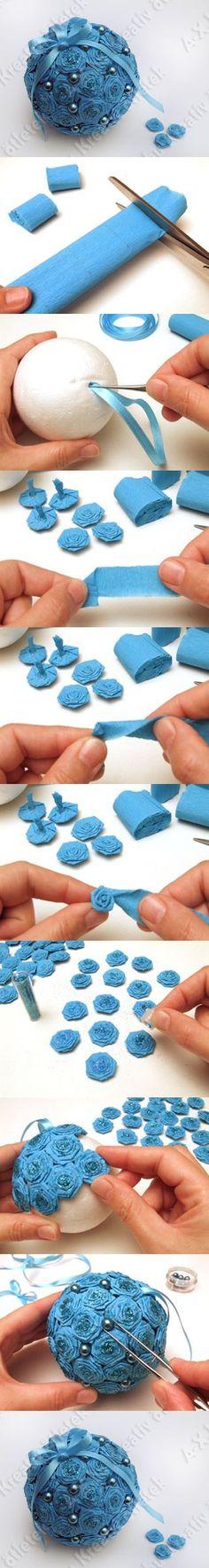 DIY Styrofoam Rose Ball Ornament | iCreativeIdeas.com Like Us on Facebook ==> https://www.facebook.com/icreativeideas
