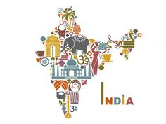 Illustration about Traditional symbols in the form of a map of India. Illustration of drum, palm, flowers - 43099304