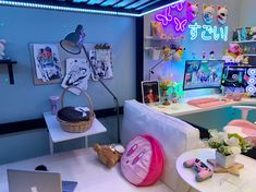 Room Ideas Bedroom, Bedroom Decor, Study Desk Organization, Gamer Room, Pc Gamer, Otaku Room, Gaming Room Setup, Awesome Bedrooms, My Dream Home