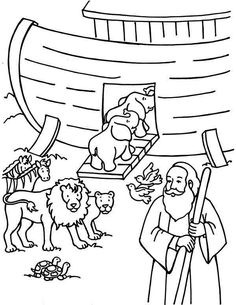 Noah Counting the Animals Before Departing the Ark Coloring Page