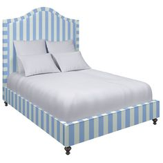 Alex Sky Westport Bed $2,486.00 Elegant lines and exquisitely detailed craftsmanship make this upholstered bed a timeless addition to the traditionally designed master suite or guest room. A gracefully arched headboard with self-welt trim and round legs give this bed a classic charm. Customize it with our striking Alex cotton upholstery in broad sky blue-and-white stripes. Exclusively available from Annie Selke.     •This is a custom item. View our shipping information and polic...