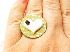 Cookie Ring Kawaii Food Ring Jewelry Heart by SouZouCreations, $12.50